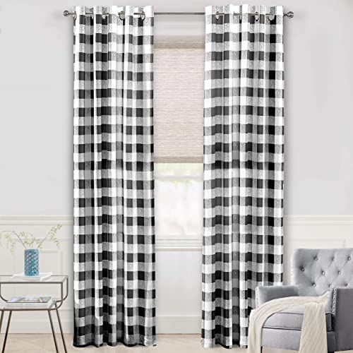 Editors' Choice: DriftAway Buffalo Checker Pattern Lined Thermal Insulated Blackout and Room Darkening Grommet Window Curtains Printed Plaid 2 Layer Set of 2 Panels 52 Inch