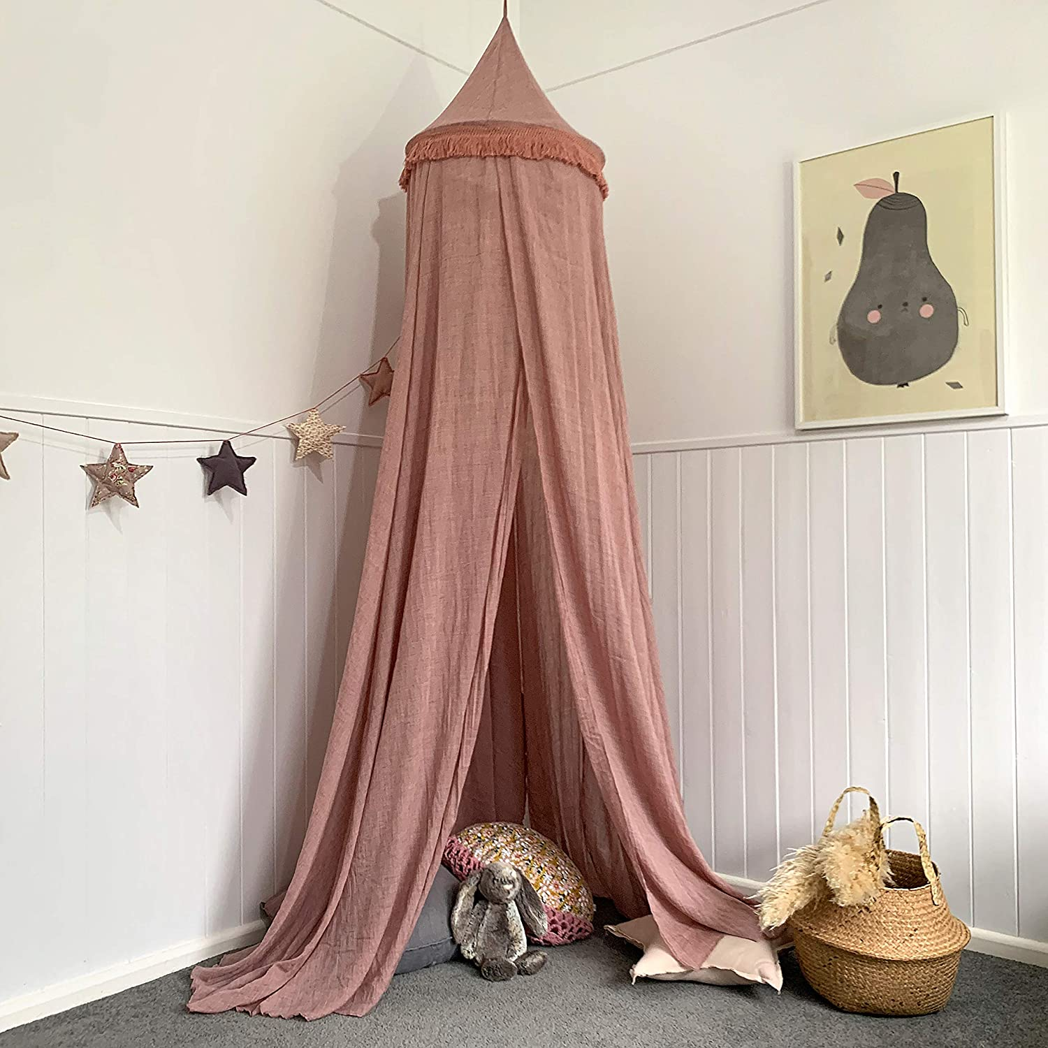 Zeke and Zoey Hanging Dusty Dirty Pink Princess Canopy for Girls Bed with Tassels - Hideaway Tent for Kids Rooms or Cribs. Nursery Decoration - Slightly Sheer Drapes for Child, Play or Reading