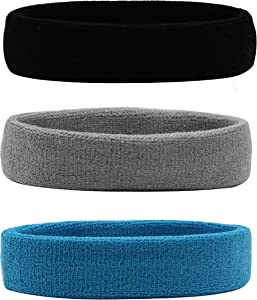 HANERDUN Sports Sweatbands Headbands Breathable Cotton Terry Cloth Sweat Head Bands for Men and Women Running Work Out Yoga Exercise Tennis