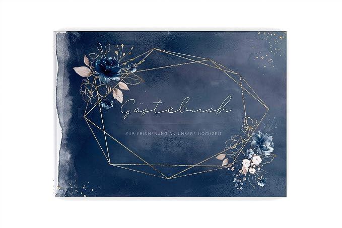 PaperMaid Gästebuch Hochzeit Aquarell Dark Blue Rosen Hardcover DINA4 Quer Dunkelblau (mit Vorgedruckten Fragen)
