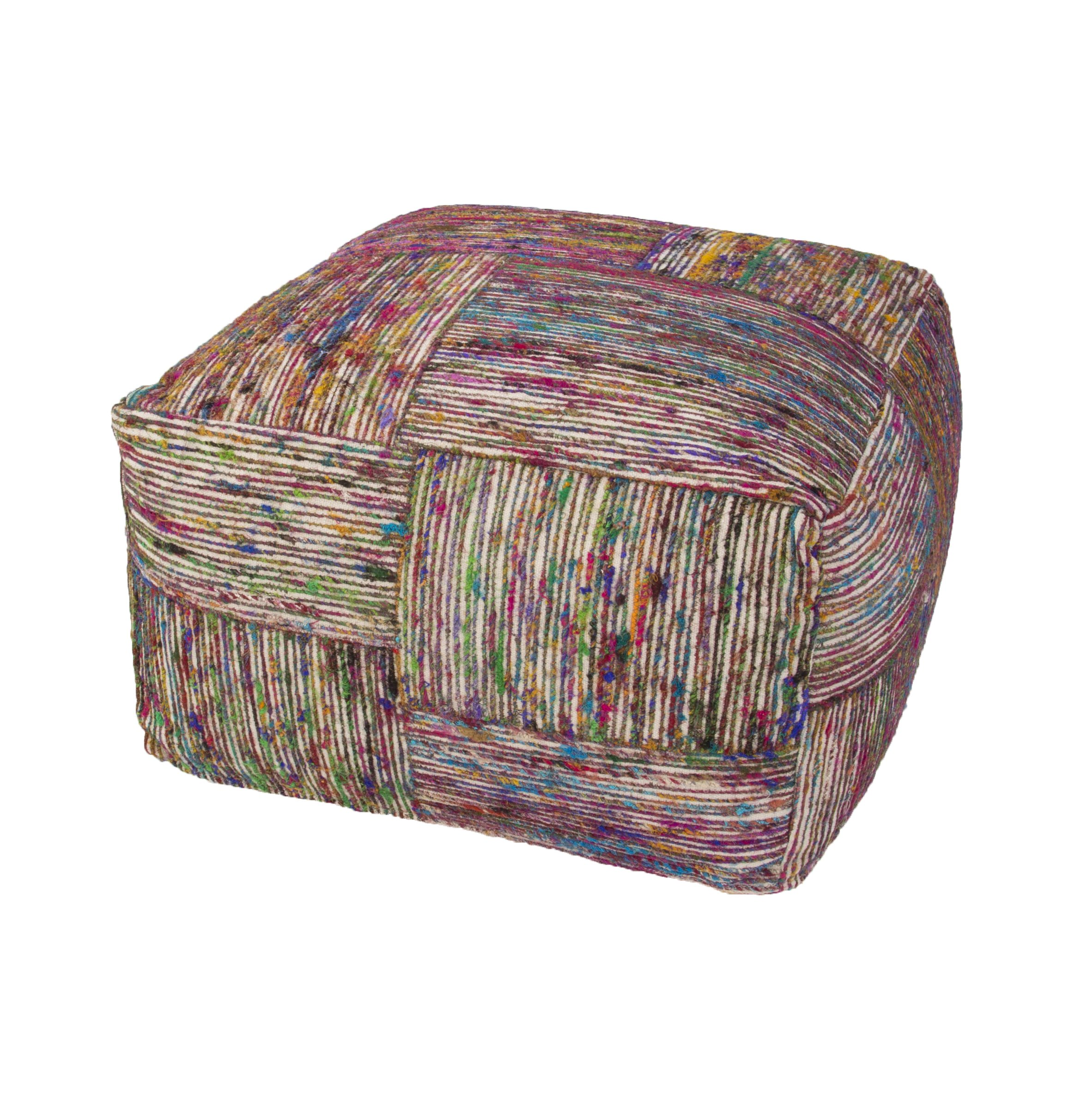 Jaipur Textural Pattern Multi Recycled Pouf, 22-Inch x 22-Inch x 13-Inch, Swan White Silk Block