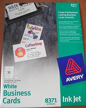 amazon avery 8371インクジェットホワイトビジネスカード 100カード
