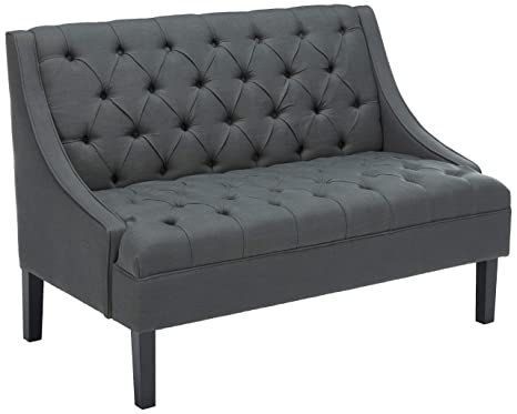 Pleasing Pulaski Scoop Arm Button Tufted Settee Accent Chair 50 2 X 30 51 X 35 43 Twilight Blue Caraccident5 Cool Chair Designs And Ideas Caraccident5Info