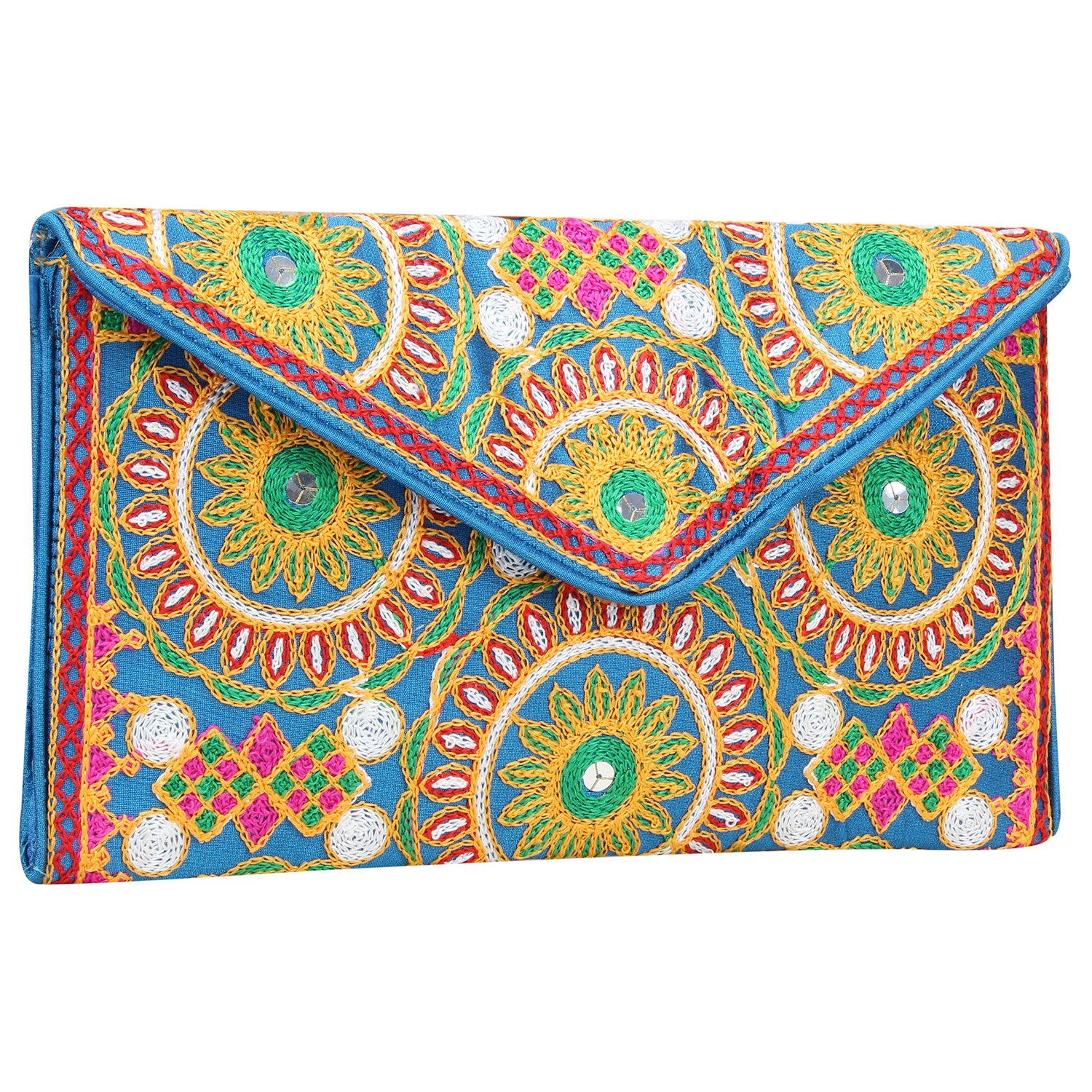 Ethnic Embroidered Hadmade Banjara foldover Clutch Purse-Sling Bag-Cross Body Bag (Dark Sky Blue)