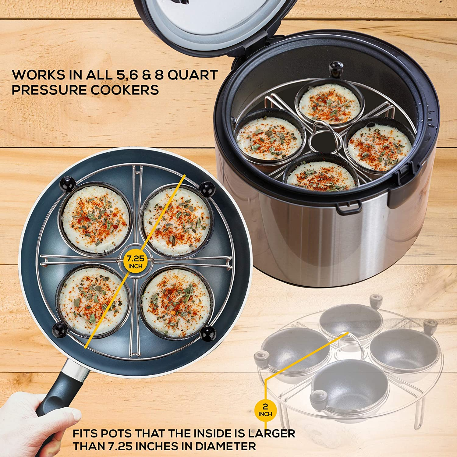 Eggssentials Egg Poacher Stainless Steel Egg Rack 6.25 inches Egg Steamer Rack Fits Many sized Pans Skillets and Pressure Cookers /… 2 Poached Egg Maker Cups PFOA Free Nonstick