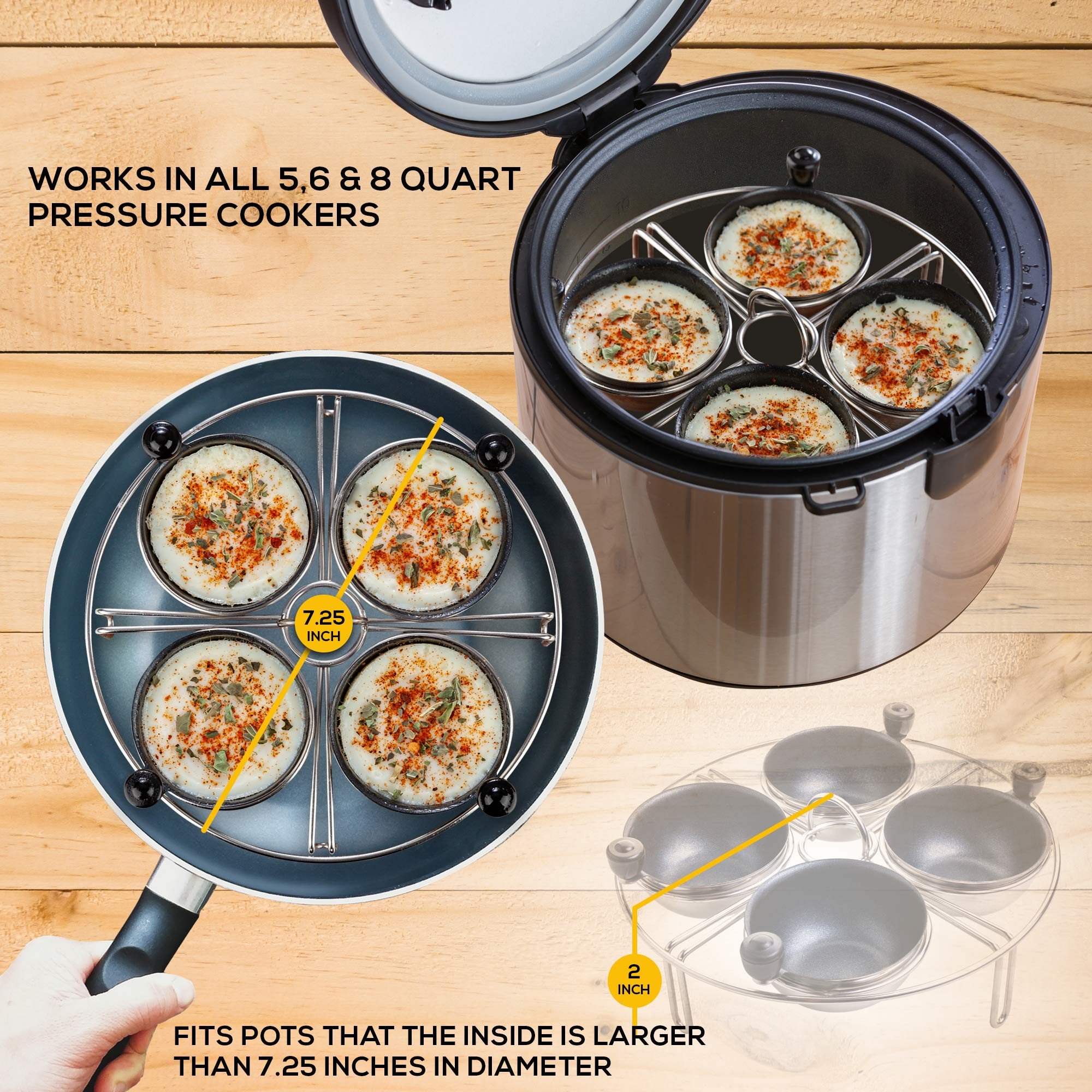 Eggssentials Egg Poacher 4 Egg Rack| Fits Many sized Pans Skillets and Pressure Cookers| Instant Pot Accessory Stainless Steel Egg Poaching Cups PFOA Free Non-stick Coating| Measures 7.25 Inches by Eggssentials (Image #2)