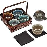 ALE-NET 技艺工房 茶壶茶杯套装 附杯垫 茶具套装 美浓烧