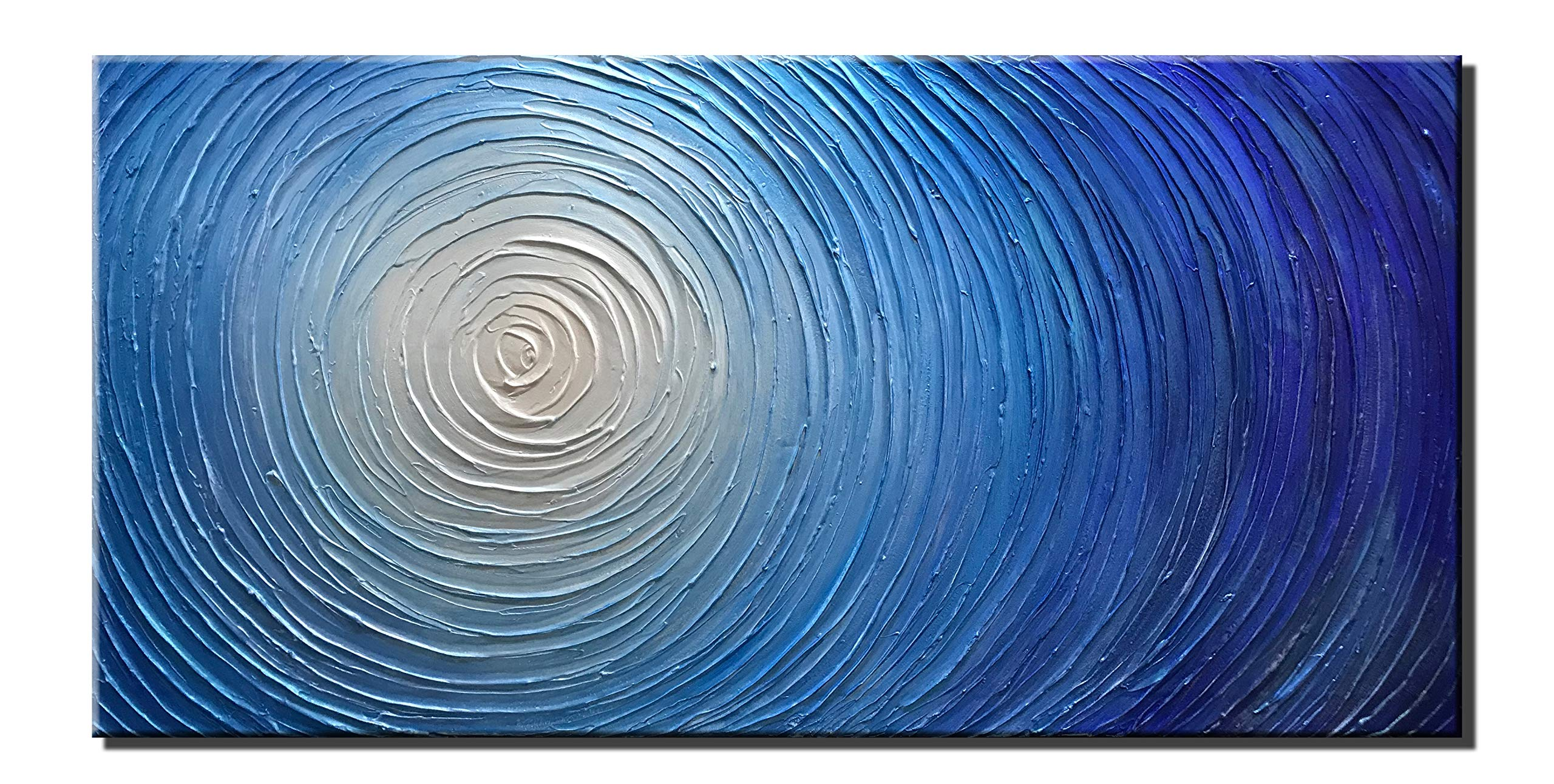 Diathou 20x40Inch Oil Painting Blue Abstract Artworks Unique Texture 100% Hand-Painted Painting Oil Painting Decoration of Modern Home Abstract Art Works