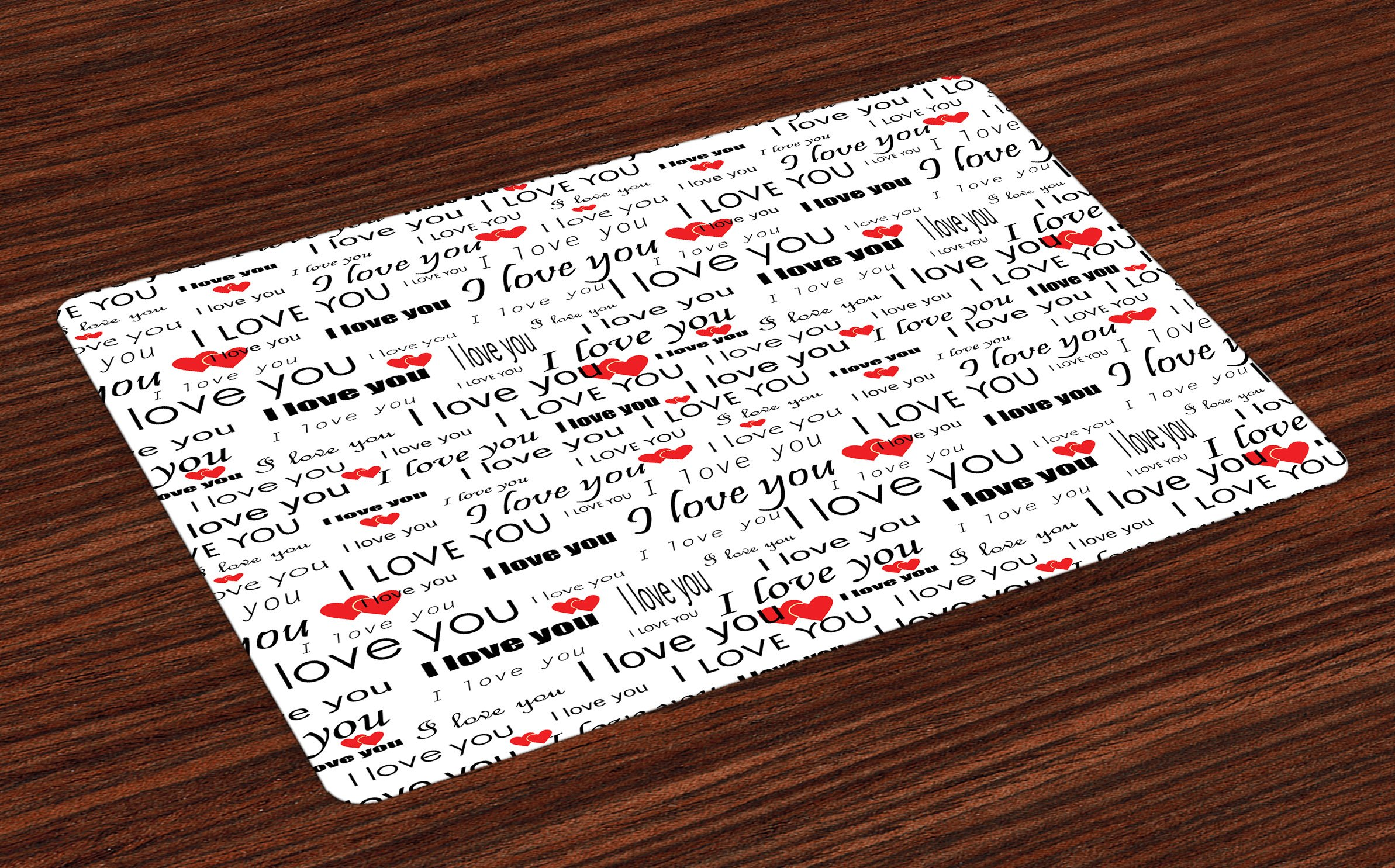 Ambesonne Romantic Place Mats, I Love You Quote with Hearts Romance Couple Valentine Plain Backdrop, Washable Fabric Placemats for Dining Room Kitchen Table Decor, Vermilion Black White