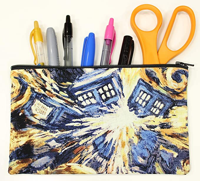 on sale Comic book tote made from Doctor Who red Dalek and Tardis cotton fabric trick or treat bag