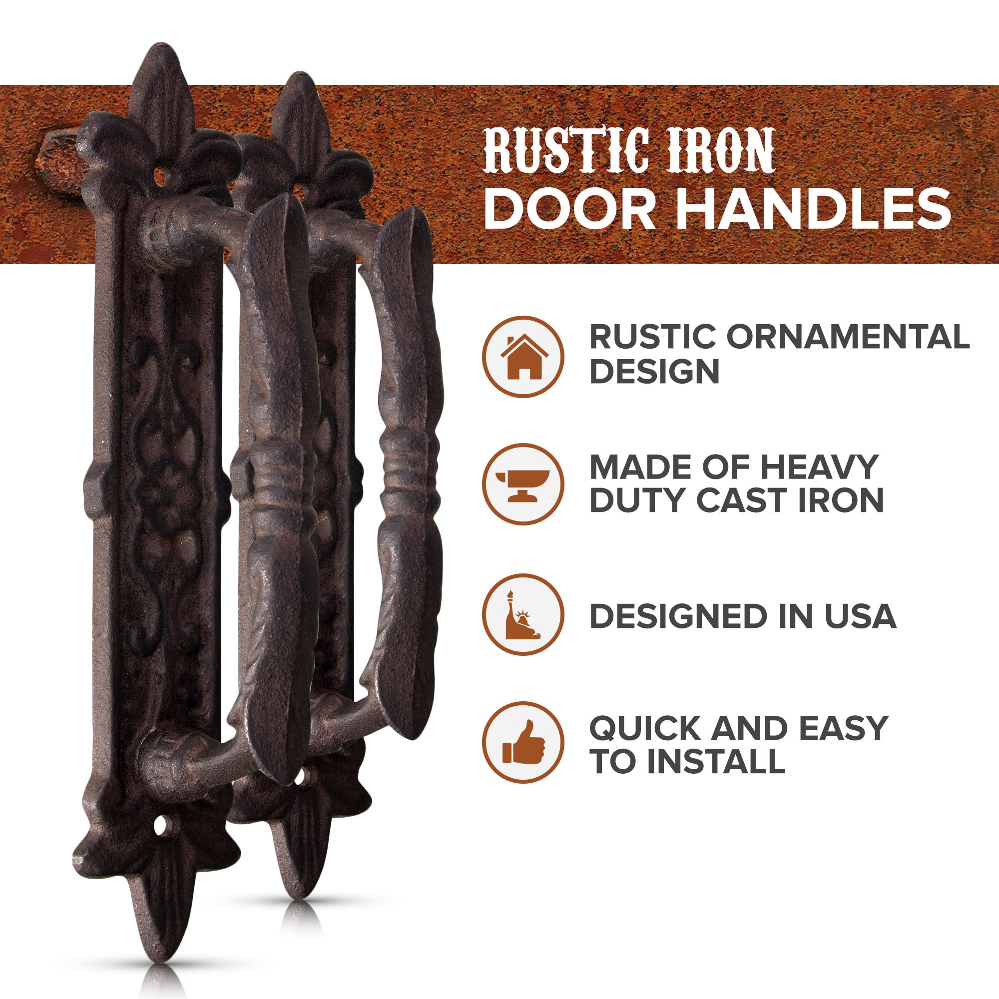 """Rustic 9"""" Barn Door Pull Handle Set of 2 - Antique Solid Cast Iron Handles by ELEGA 