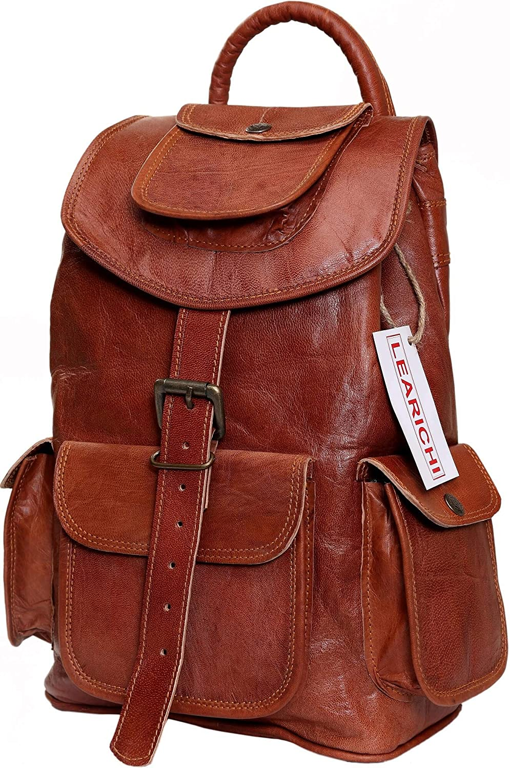 Leather Backpack for Men and Women Handmade Drawstring Rucksack Daypack Bag for Boys & Girls Medium Size 14 inches