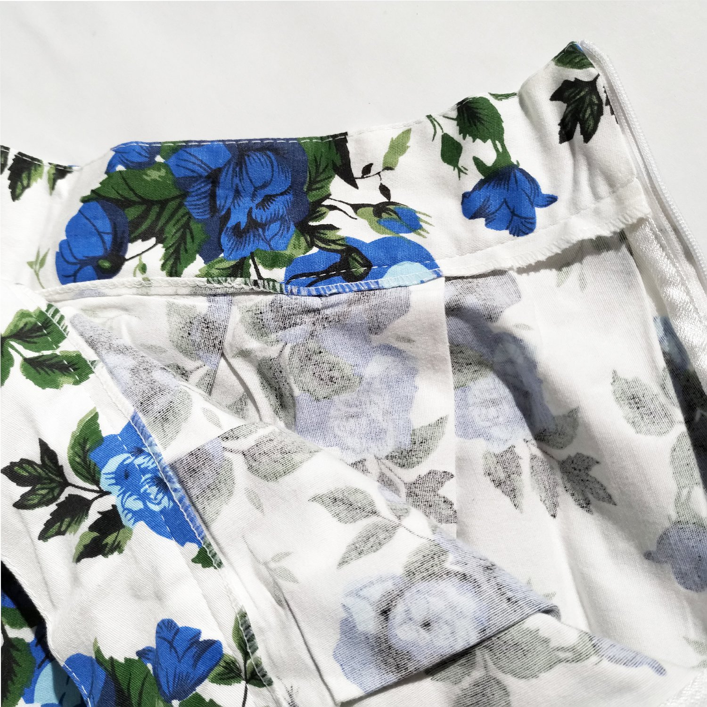 Dressever Womens Vintage A-line Printed Pleated Flared Midi Skirts