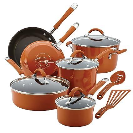 Charmant Rachael Ray Cucina Hard Porcelain Enamel Nonstick Cookware Set, 12 Piece,  Pumpkin Orange