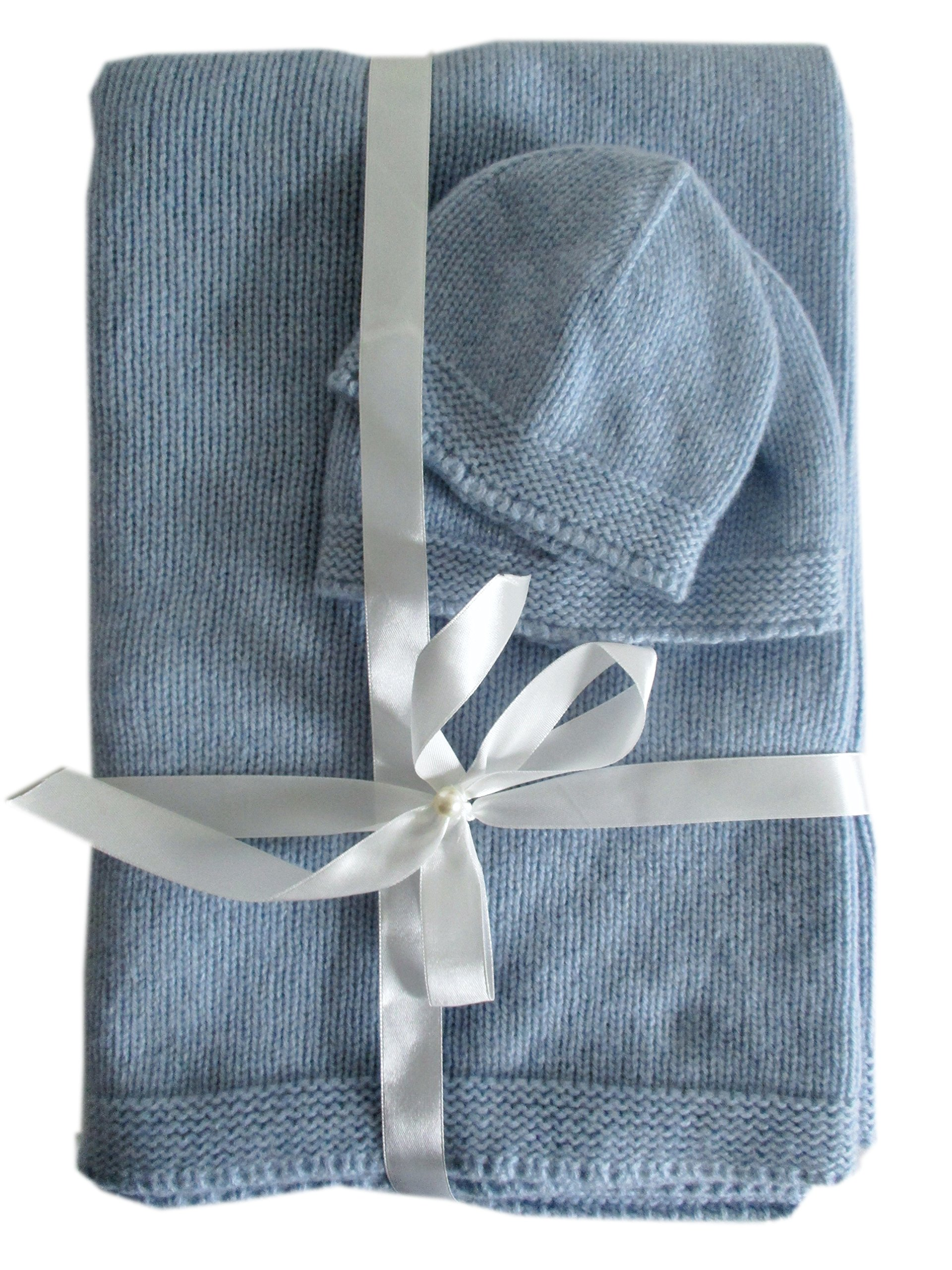 Frost Hats Cashmere Baby Blanket and Hats Set Blue