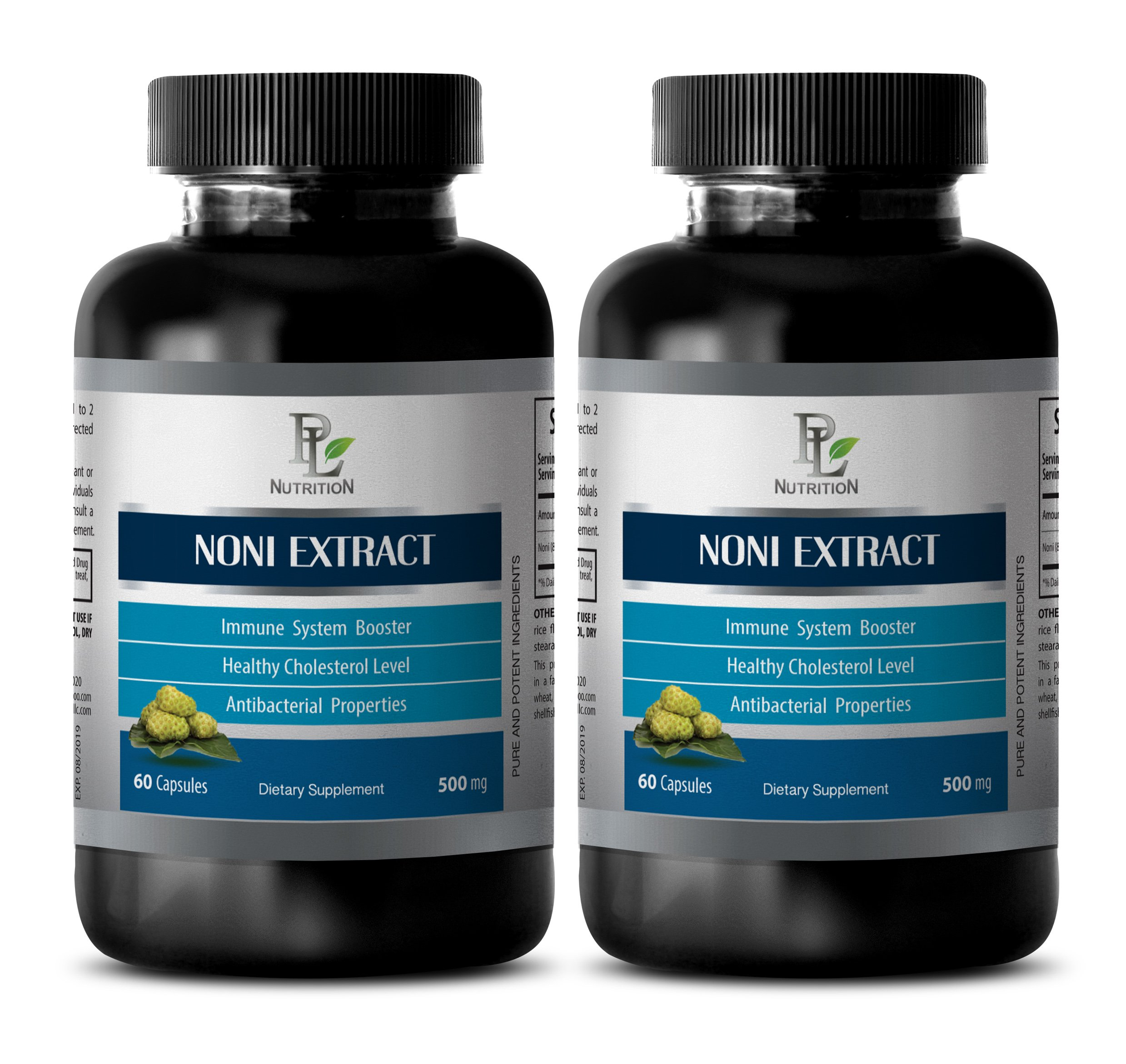 Natural digestive aid - NONI EXTRACT 500 Mg - Noni pills - 2 Bottles 120 Capsules