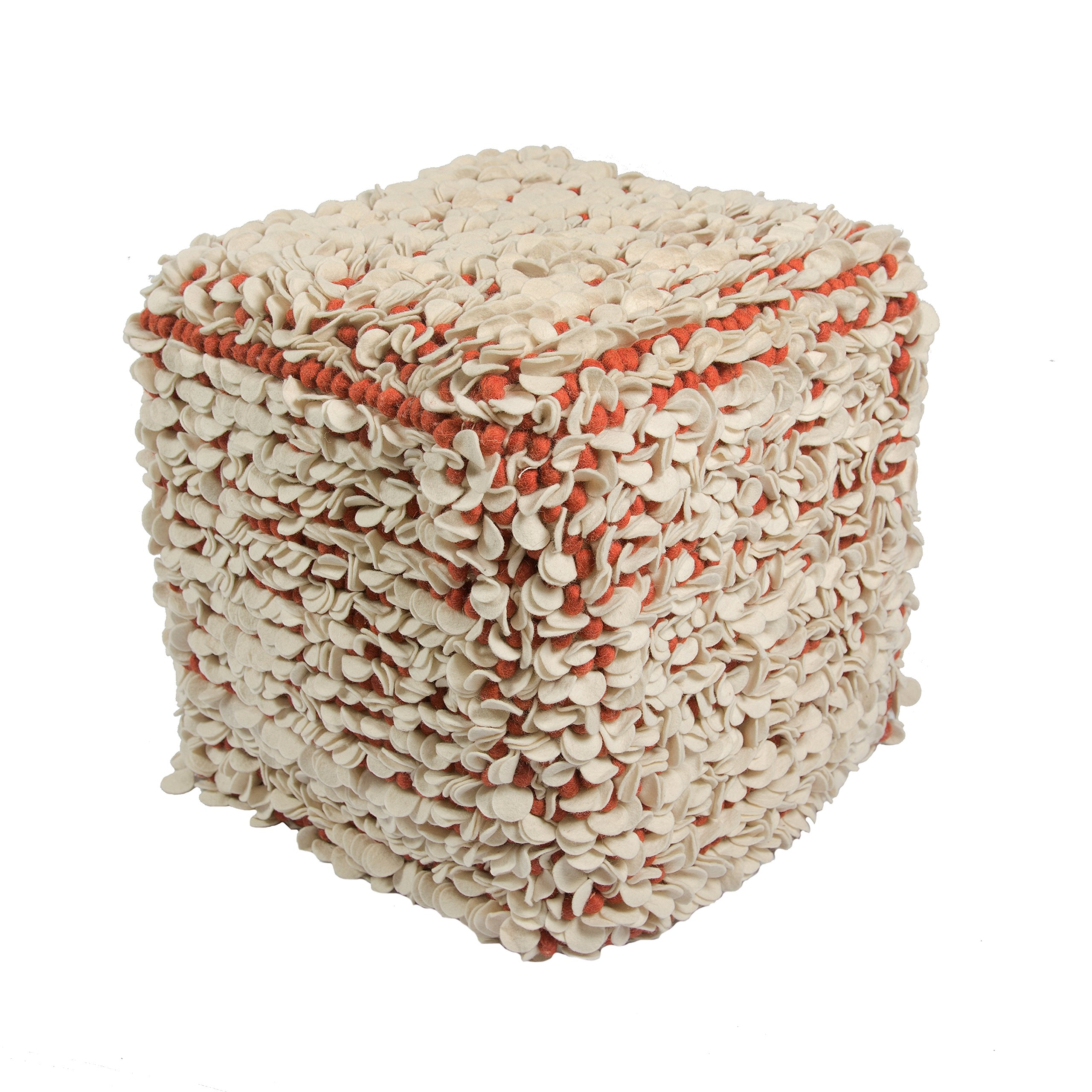 Jaipur Textural Pattern Ivory/Red Wool Pouf, 16-Inch x 18-Inch x 18-Inch, Egret Tasha