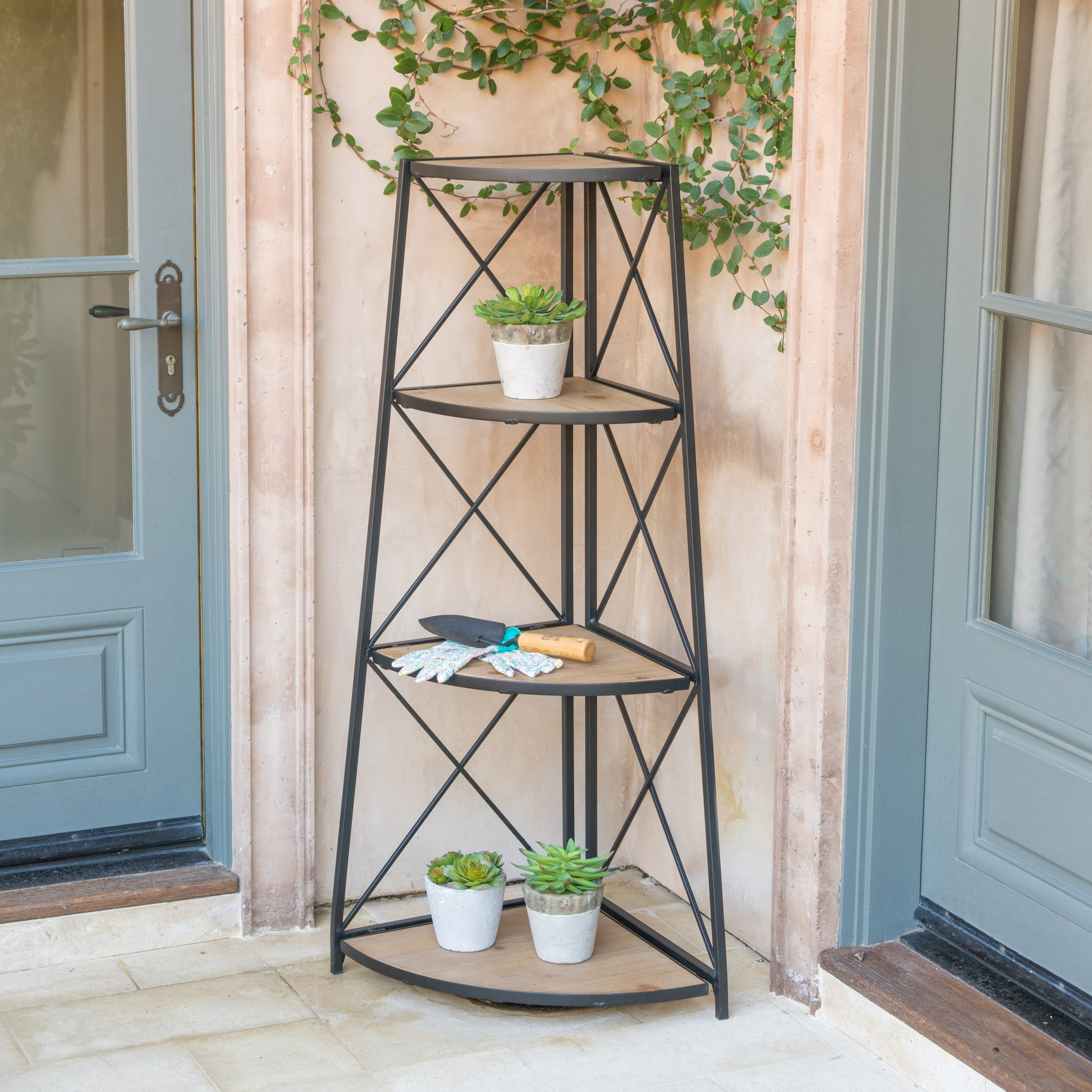 Great Deal Furniture Trisha Outdoor Industrial Naturally Antique Firwood 3-Tier Corner Shelf with Black Finished Iron Frame