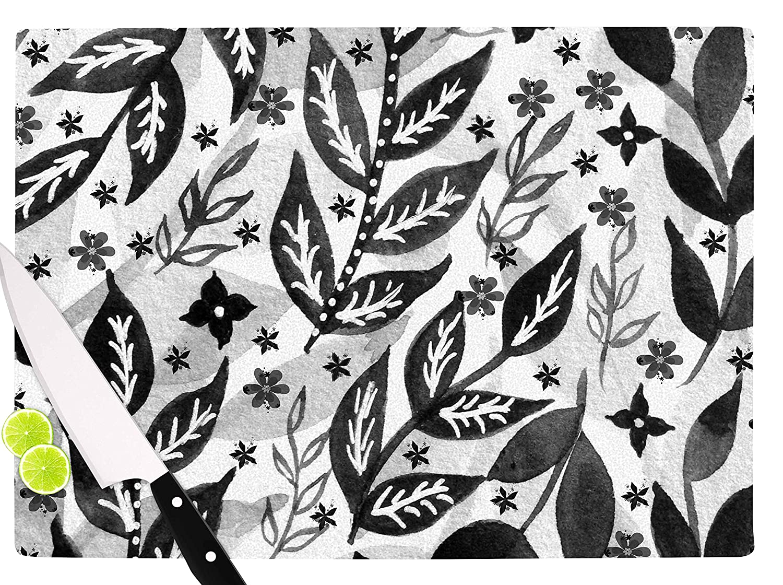 Multicolor KESS InHouse LZ1016ACB01 Li ZamperiniBlack Foliage Gray White Cutting Board 11.5 x 8.25