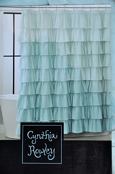 Amazon Cynthia Rowley Blue Aqua Ruffled Tiers Fabric Shower