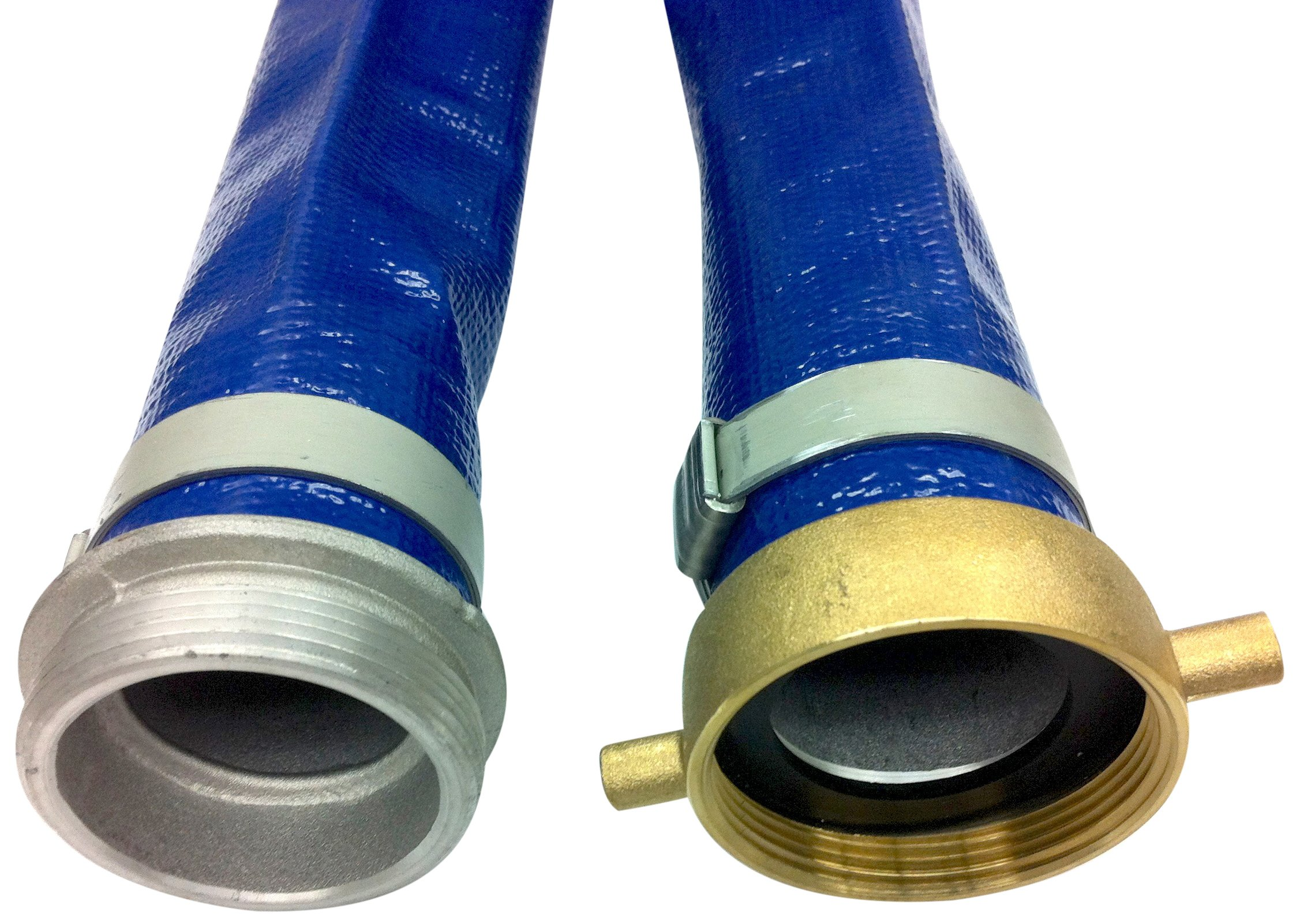 Unisource 200 Blue PVC Discharge Hose Assembly, 2'' MPT x NPSM Female Swivel Connection, 80 PSI Maximum Pressure, 50' Length, 2'' ID by Unisource