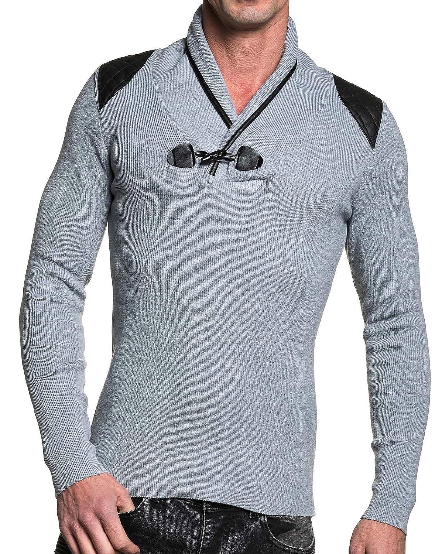 BLZ jeans - Man sweater gray button end Brandenburg