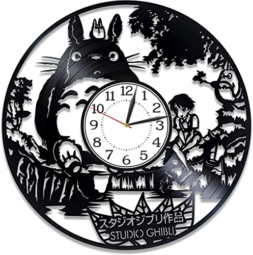 Kovides My Neighbor Totoro Vinyl Record Clock Studio Ghibli Wall Clock 12 Inch My Neighbor Handmade Clock