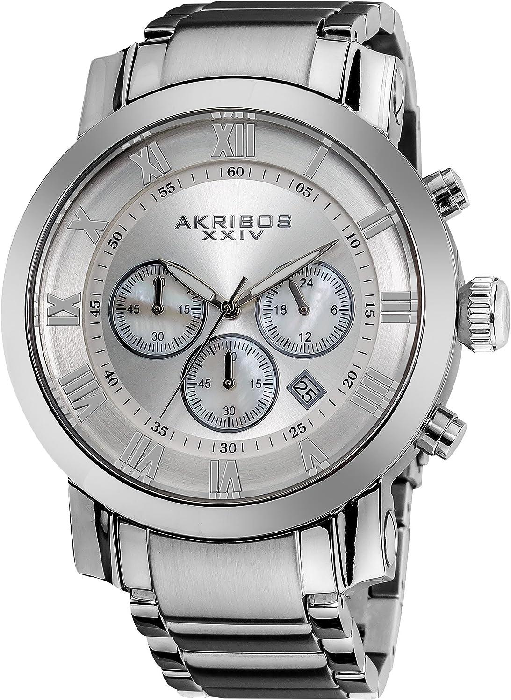B00E3LH5DW Akribos XXIV Men's 'Grandiose' Chronograph Multifunction Watch - 3 Subdials with Date Window On Stainless Steel Bracelet Watch - AK622 91yEYHgcB8L