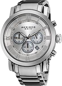 Akribos XXIV Men's 'Grandiose' Chronograph Multifunction Watch - 3 Subdials with Date Window On Stainless Steel Bracelet Watch - AK622