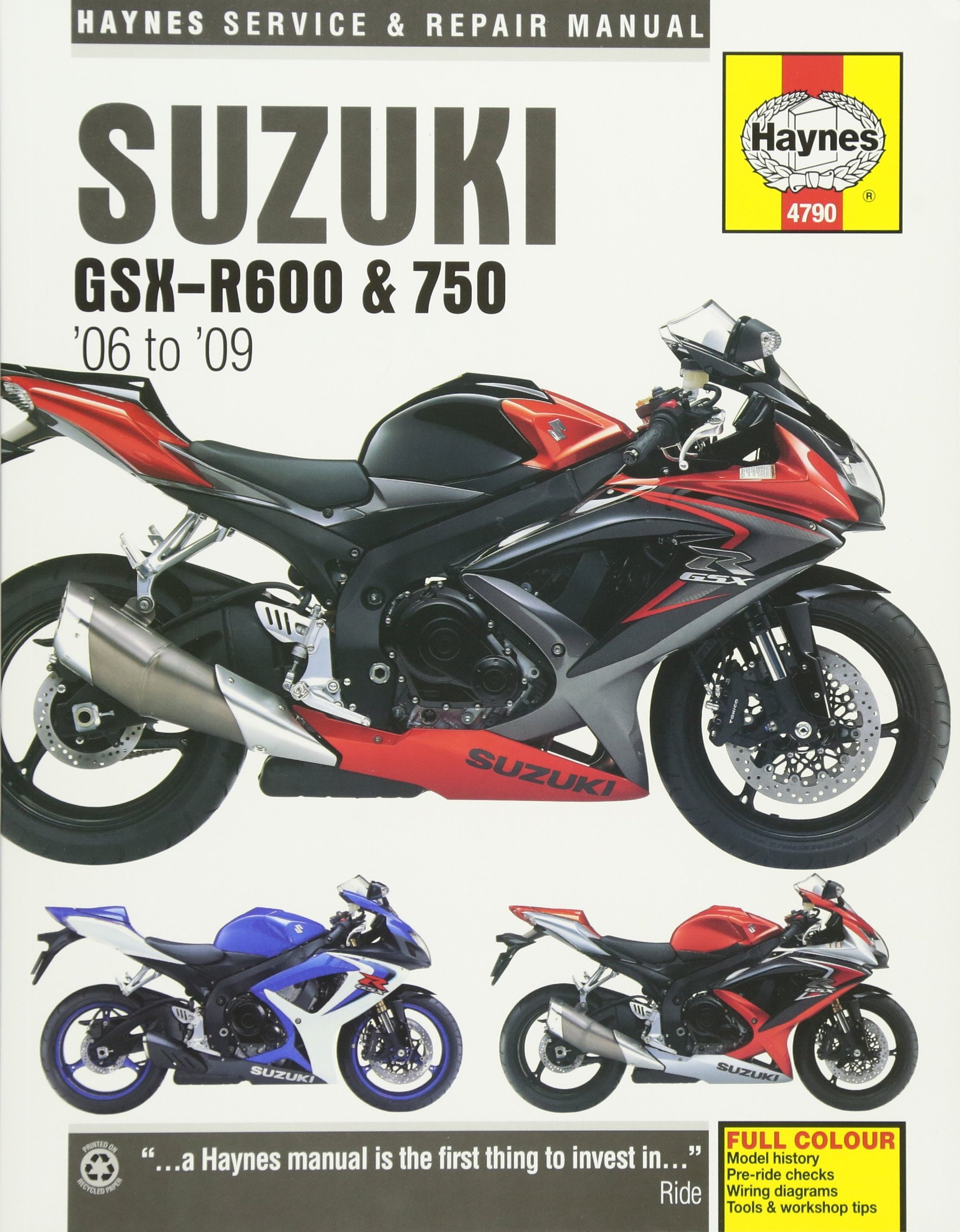 Suzuki GSX-R600 & 750 '06 to '09 (Haynes Service & Repair Manual): Editors  of Haynes Manuals: 9781785210433: Amazon.com: Books