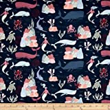 Dear Stella Into The Reef Under Water Scenic Navy Fabric By The Yard