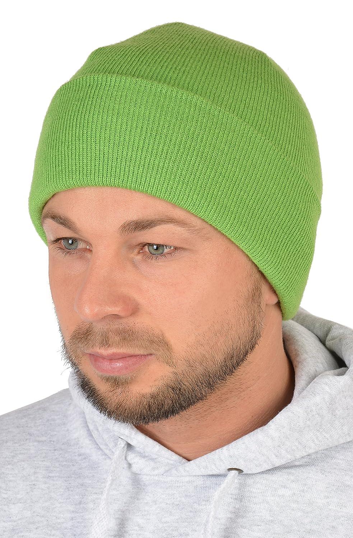 Herren Strickmütze, Wintermütze in hellgrün, Skimütze - doppellagig gestrickt