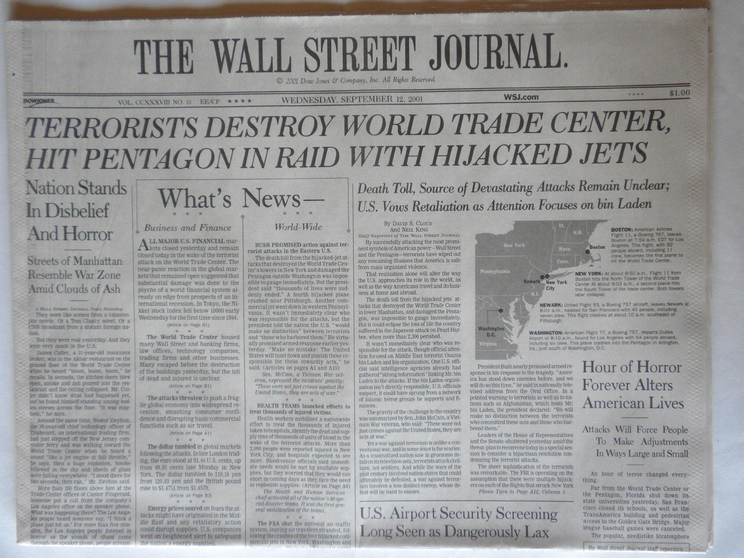 The Wall Street Journal - 09/12/2001 - First Printing pdf epub