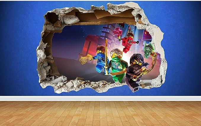 Lego Ninjago 3D-smashed Wandtattoo Kinderzimmer, vinyl, Small: 50cm ...