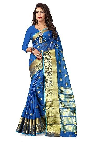 6053f32797676b Dwarkesh Fashion Women's New Silk Blue Saree With Blouse (DF-2013-G ...