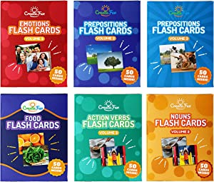 CreateFun Vocabulary Builder Flash Cards 6 Pack - Volume 2 - 300 Educational Photo Cards with Learning Games - Food, Emotions, Nouns & Verbs Vol 2 and Prepositions Vol 2-3 for Home and Speech Therapy