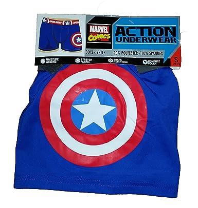 0c4f46a74a8892 Marvel Comics Men s Captain America Action Underwear Licensed Boxer Briefs  X-Large Blue