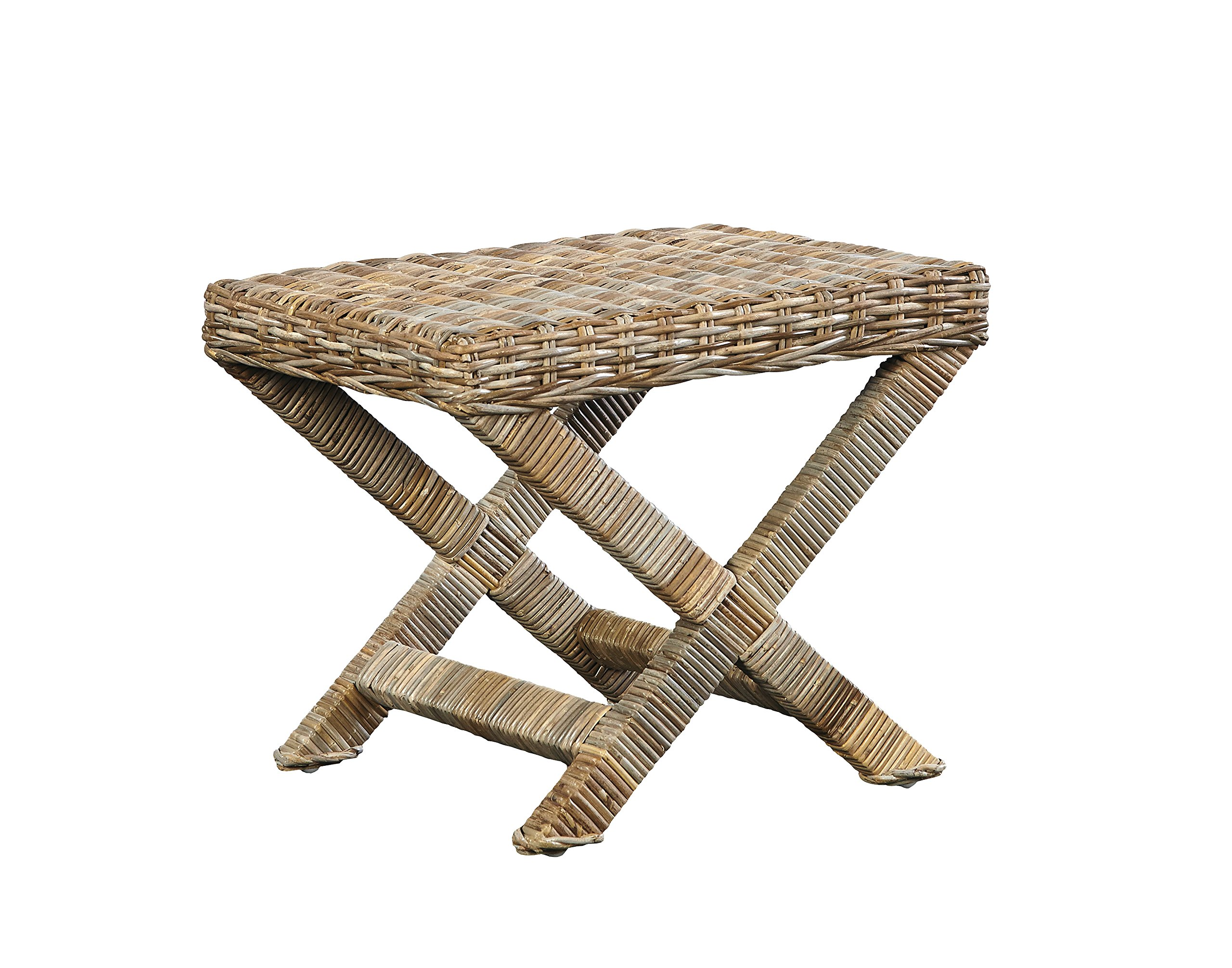 Sloane Elliot SE0430 Meiryo Woven Kubu Stool, Natural Wood Finish