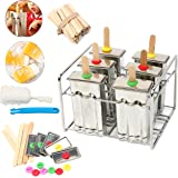 Yaekoo Set of 6 Stainless Steel Popsicle Mold and Rack Set - Homemade Ice Treat Makerwith 50 Bamboo Sticks and 6 Silicone Seals and Bonus Cleaning Brush