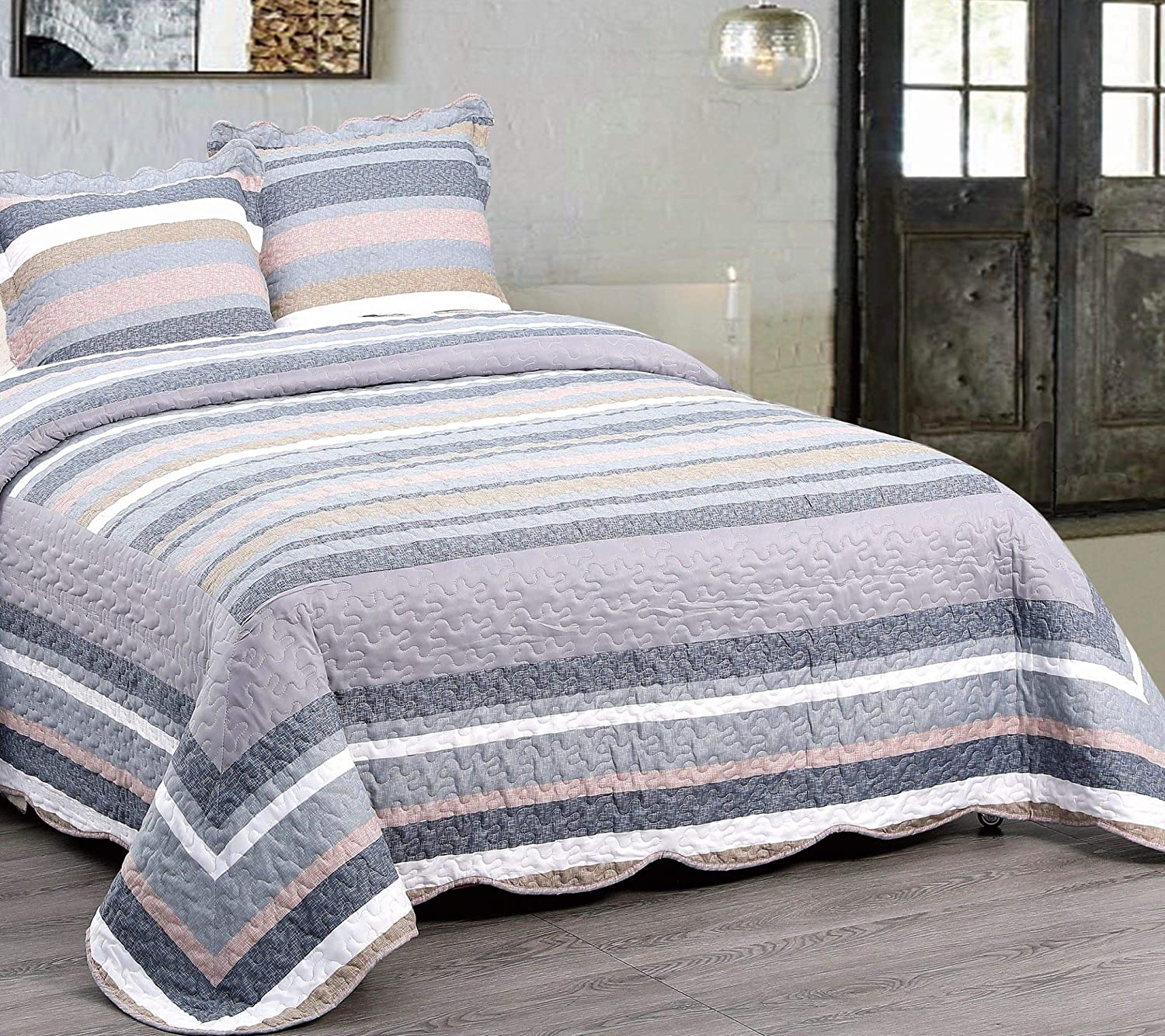Ultra Soft All-Season Bedspread Paarizaat Avery Microfiber Quilt Bedding Coverlet 110x96