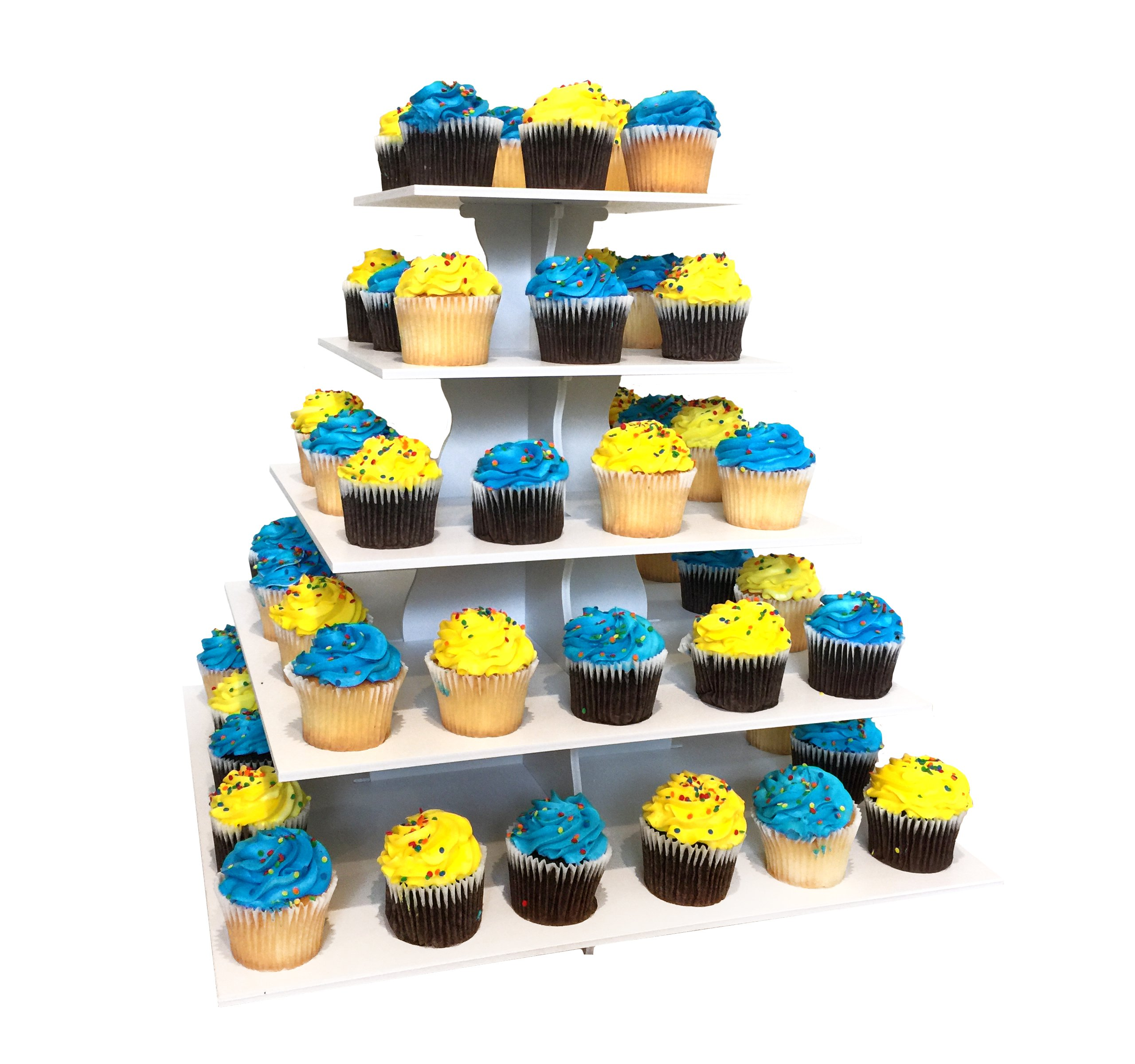 The Smart Baker NEW Quick and Easy 2 in 1 Square Cupcake Tower Stand - Reusable as 3 or 5 Tier Cupcake Stand - Holds 100+ Cupcakes