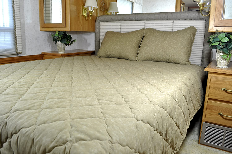 amazoncom solid color short queen rv bedspread 3 pc set camper rv travel trailer bed home u0026 kitchen