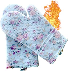 ByChefCD Professional Silicone Oven Mitts/Heat Resistant Gloves Non-Slip Professional Cooking Gloves, Kitchen Potholders and Oven Mitts, Grill Gloves Heat Resistant, Best Oven Mitt (Clear)