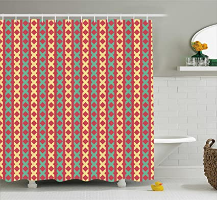 Lunarable Retro Shower Curtain Style Geometric Motifs Repeating Vertical Borders Tile Pattern Fabric