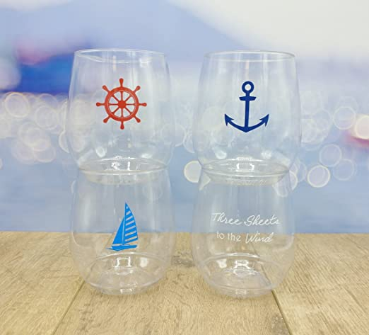 Set of 4 Pieces 4 Glass Anchor Nautical Stemless Wine Goblet Glasses 14 oz