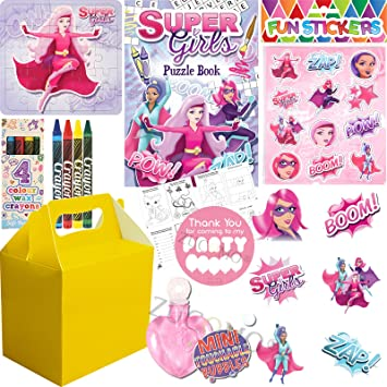Girls Filled Yellow Party Bags Box Kids Birthday Wedding Gifts