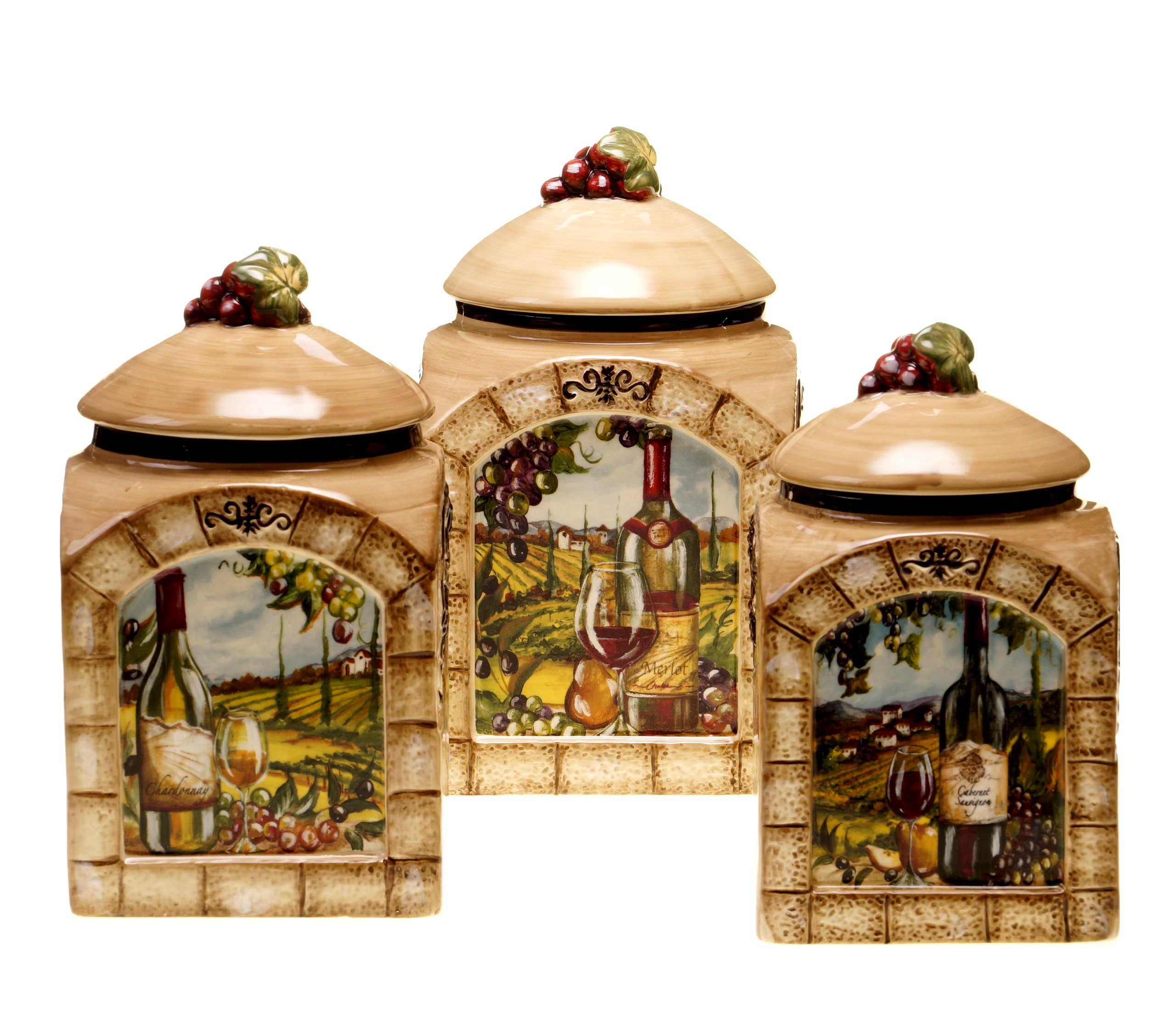 Certified International Tuscan View 3-Piece Canister Set, 60-Ounce, 76-Ounce and 108-Ounce