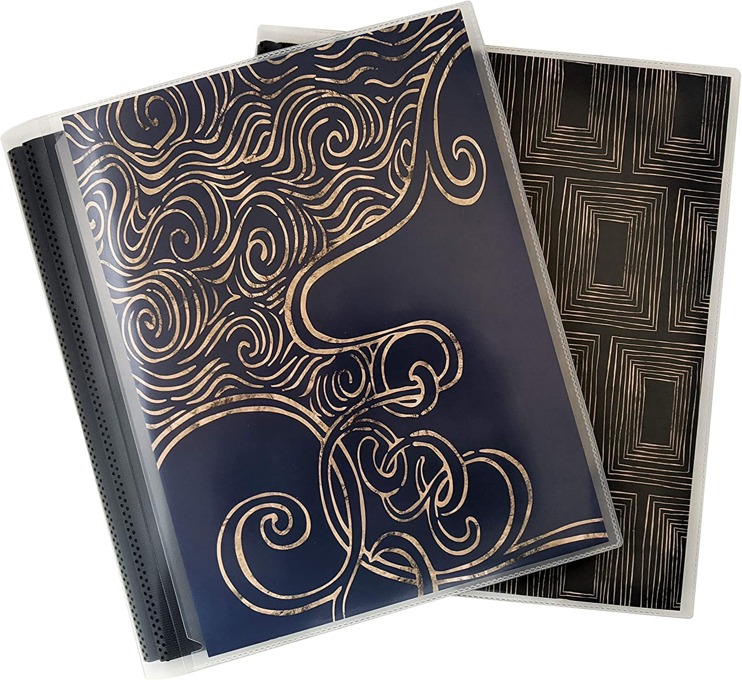 CocoPolka 8x10 Photo Albums Pack of 2 - Each Large Format Flexible Photo Album Holds Up to 48 8x10 Photos in Black Pockets. Removable Covers Come in Elegant Modern Patterns