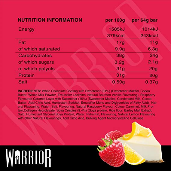 Warrior Crunch Bar, Raspberry Lemon Cheesecake - 12 Bars 12 Unidades 880 g