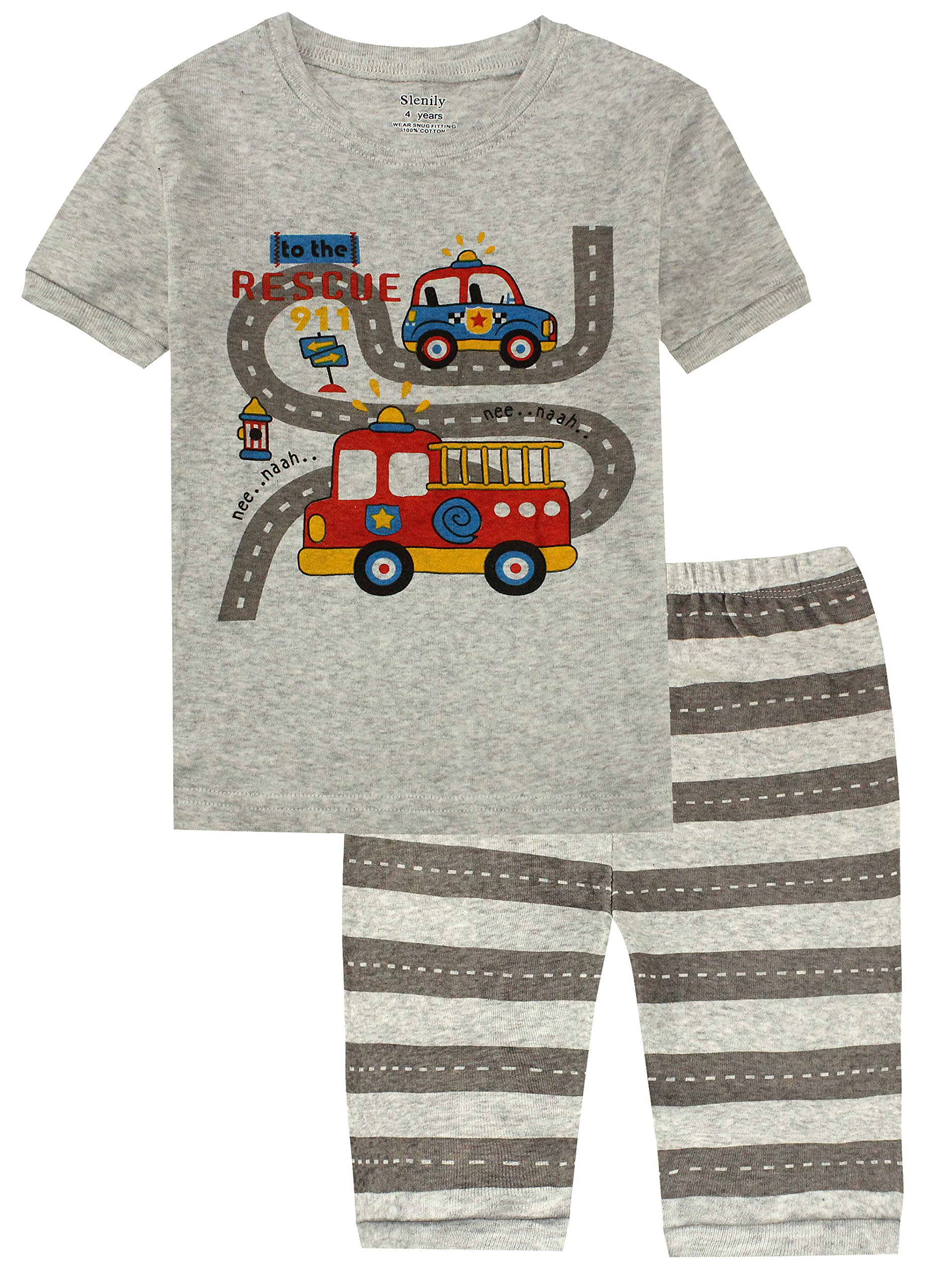 Slenily Little&Big Boys Pajamas 100% Cotton Kids Sleepwear Toddler Pjs Shorts Set Size 5